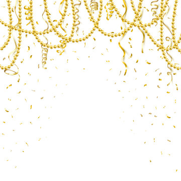 Decorative frame with shiny realistic gold beads, jewelry, vector illustration background