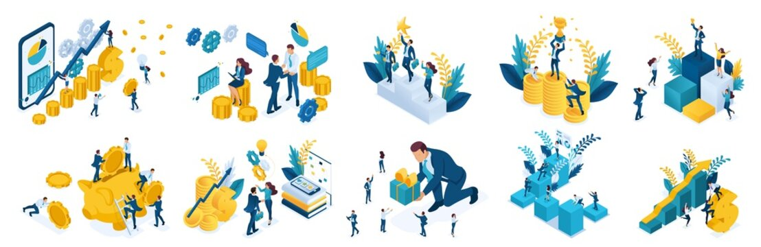 Isometric concept of investing and achieve success. Vector illustration for website and mobile application design