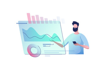 Young man with a virtual monitor. Concept of digital technology. Remote business process management. Vector illustration.