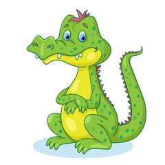 Photo sur Plexiglas Dinosaurs Funny crocodile sitting. In cartoon style. Isolated on white background.