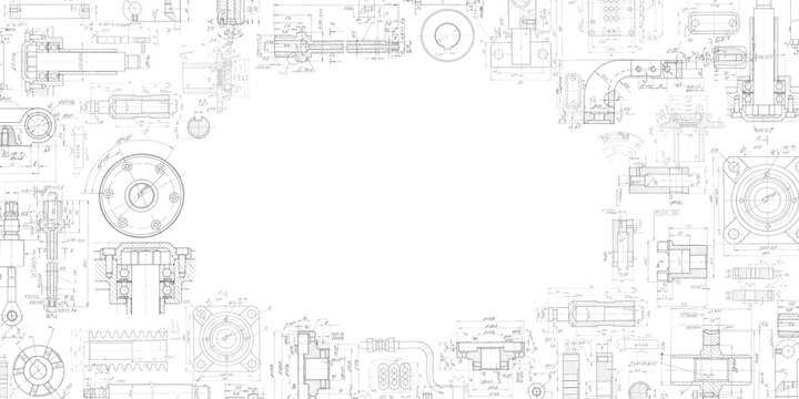 Technical drawing background .Mechanical Engineering drawing .Industrial Technology Banner.