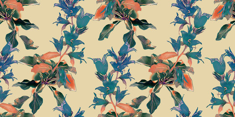 Bell flowers seamless pattern