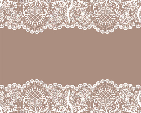 Horizontally seamless beige lace background with lace borders