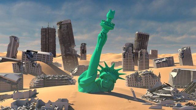 3d illustration of destroyed city with Statue of Liberty covered by sand
