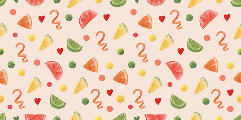 Watercolor pattern with slice fruits for decoration of cocktails. Orange, grapefruit, pinapple, spiral peel of orange and piece lime. High resolution elements for summer menu