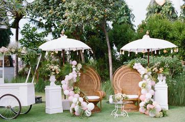 Outdoor tropical wedding photo booth