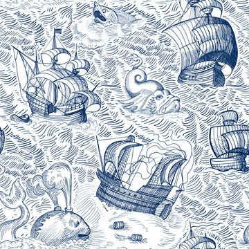 Marine map. Vintage seamless pattern with ships and monsters