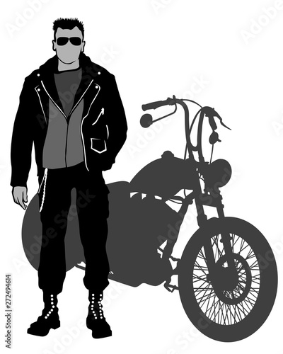 Wall mural People and old bike on white background