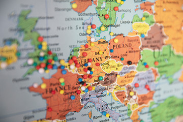 Close up of map of Europe with pins showing visitor locations