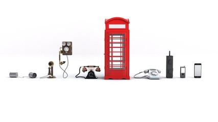 3D illustration of phone evolution