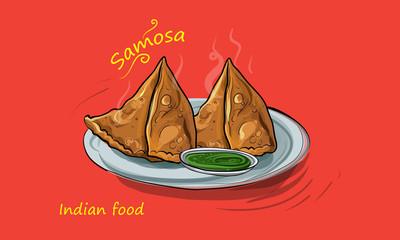 samosa vector illustration indian street food
