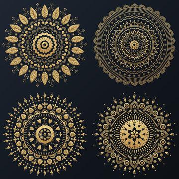 Set of Ethnic gold flower ornamental wreath. Vector boho lifestyle illustration.