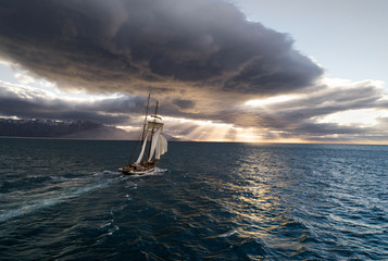 Vintage sailing vessel moving in sea