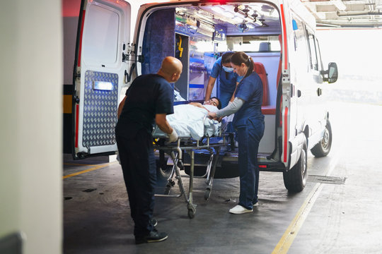 Paramedics and patient in the ambulance