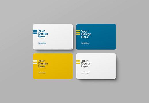 4 Rounded Corner Business Card Mockup