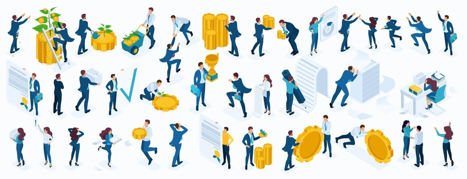 Large Isometric set of business people, businessmen, businesswoman, employees, investors, Directors, accountants, managers