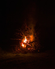 Big bonfire burning in the night