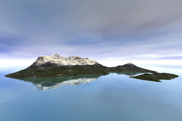Island, a mediterranean landscape, snow on the peak, reflection on water and clouds in the sky.