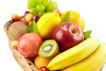 assorted fruits in a square basket
