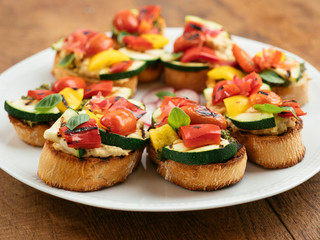 Grilled Veggetable Bruschette with Hummus and Pesto