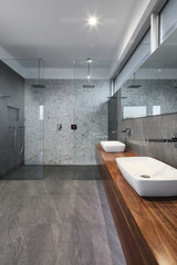 Contemporary bathroom with double shower and basins