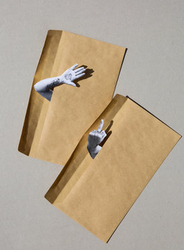 Collage of two hands giving gestures emerging from two brown envelopes.