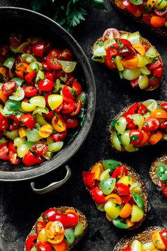 Cherry tomato bruschettas