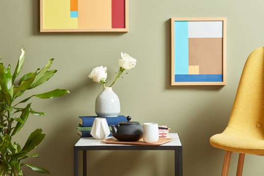 Modern composition of interior.