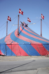 Colorful old circus tent