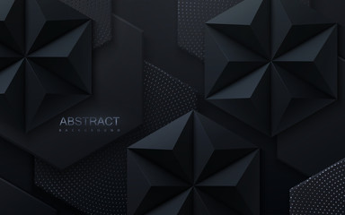 Abstract geometric background. Vector 3d illustration. Hexagonal and pyramid black shapes. Polygonal tiles with dotted pattern. Minimal cover design. Futuristic design element. Hex geometry pattern Fototapete
