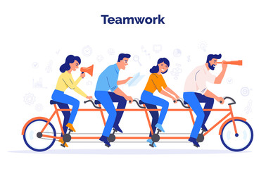 A team of four business people riding a bike. Partners work together to achieve common goals. Teamwork vector concept.