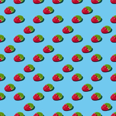 Gummy Strawberry Pattern on Bright Blue