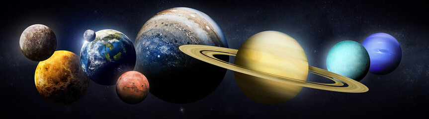 Solar system planets high resolution set. Earth, Mars, Sun and other planet. Elements of this image furnished by NASA