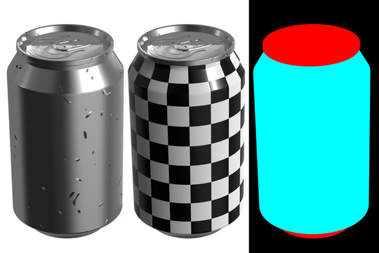 12 oz beer or soda can with droplets. High resolution 3d render. The layout kit includes checker and alphas.