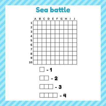 Sea battle. Template page with form and elements for battleship.