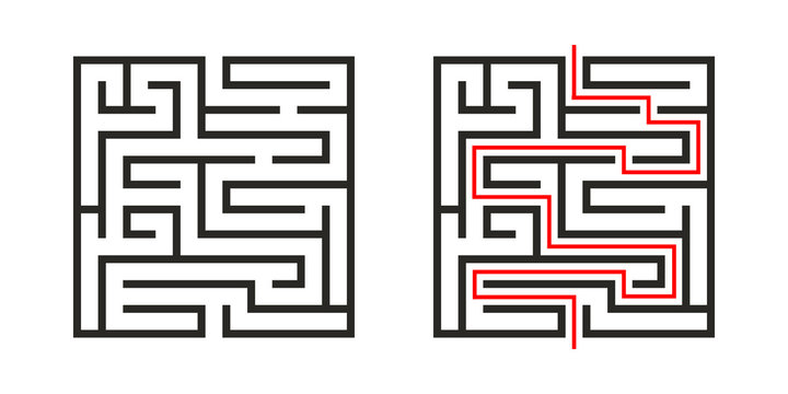 Education logic game labyrinth for kids. Find right way. Isolated simple square maze black line on white background.  With the solution. Vector illustration.