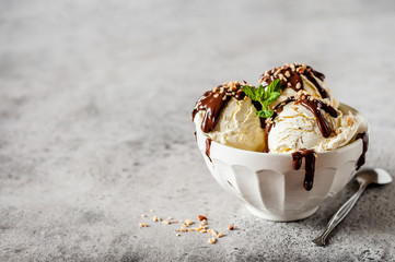 Vanilla Ice Cream with Chocolate Topping