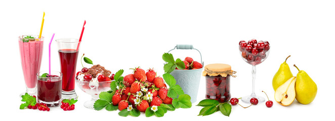 Panoramic collage fruit, drinks, ice cream