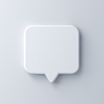 Blank white speech bubble pin isolated on white wall background with shadow 3D rendering