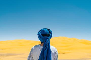 Man Travel In Sahara Desert.