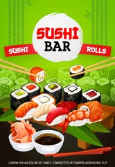 Asian sushi bar and Japanese seafood menu