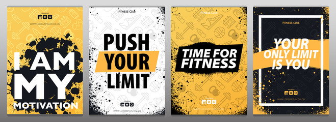 Fitness Gym Motivation Quote. Grunge Poster Concept. Wall mural