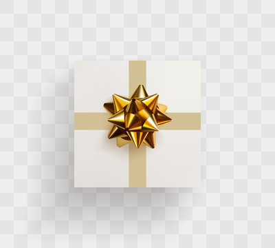 Decorative white gift box with realistic golden bow