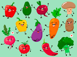 Funny collection of cartoon plant characters. Vector vegetable isolates.