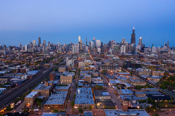 Fototapete - Chicago buildings skyline downtown aerial