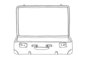 Fototapeta empty Suitcase vintagehand drawn line art vector illustration obraz