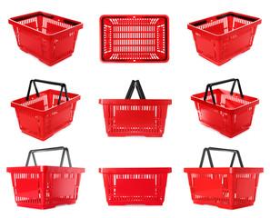 Set of plastic shopping baskets on white background