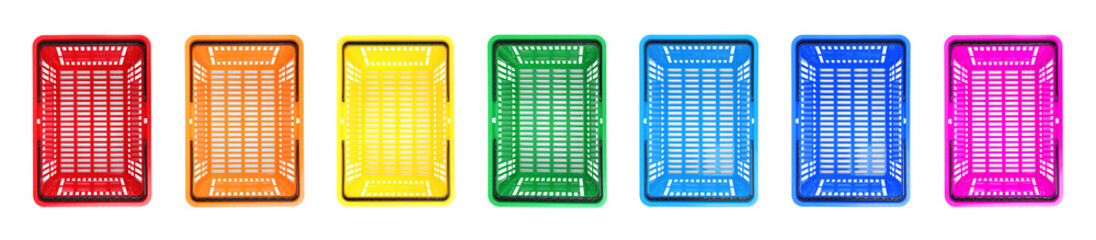 Set of different plastic shopping baskets on white background, top view