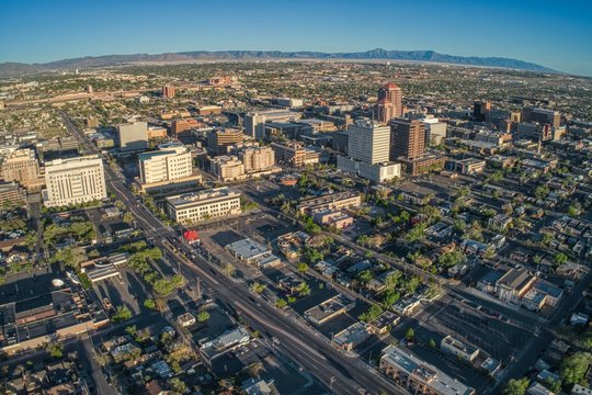 Aerial View of Albuquerque, The biggest City in New Mexico