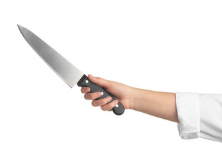 Woman holding chef's knife on white background, closeup